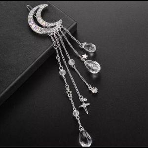 Boho Bohemian Moon, Stars & Crystals Hair Clip